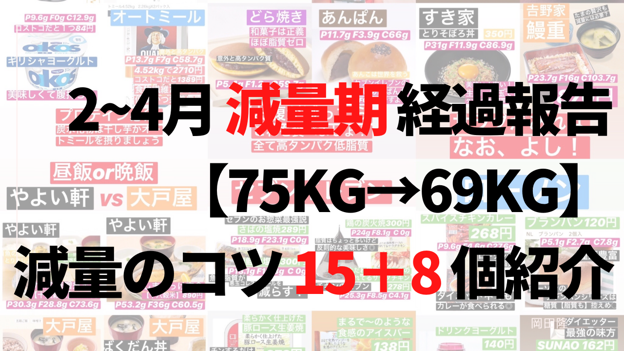 2~4月【減量期】経過報告【75kg→69kg】減量のコツ23個紹介